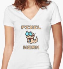 Pixel worm as a pixel graphic Women's Fitted V-Neck T-Shirt