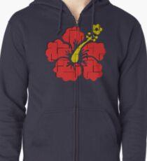 Floral Hibiscus Zipped Hoodie