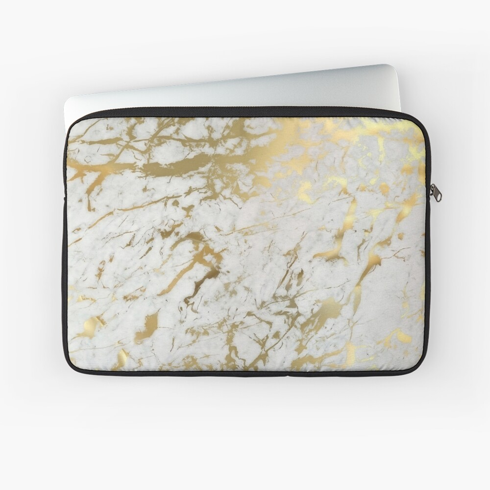 Gold marble on white (original height quality print) Laptop Sleeve