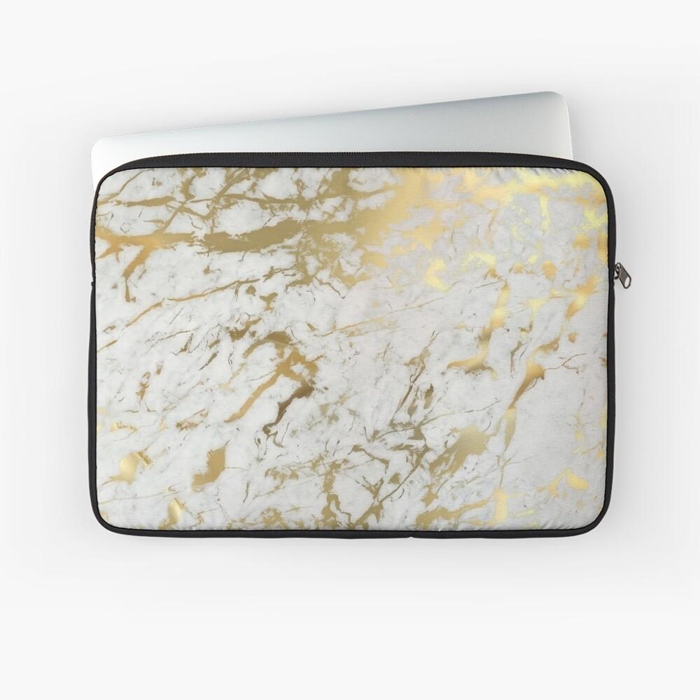 Gold Marmor auf Weiß (Original Höhe Qualitätsdruck) Laptoptasche