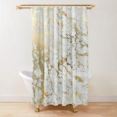 Cortina de ducha Mármol dorado sobre blanco (impresión de calidad de altura original)