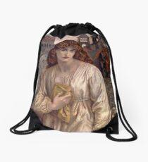 Salutation of Beatrice -  Dante Gabriel Rossetti Drawstring Bag