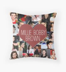 Millie Bobby Brown - vintage collage Throw Pillow