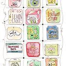 Tea Tags of the World Watercolor and Ink Illustration  by JessicaFDesign