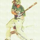 Watercolor Baseball Batter by rhamm