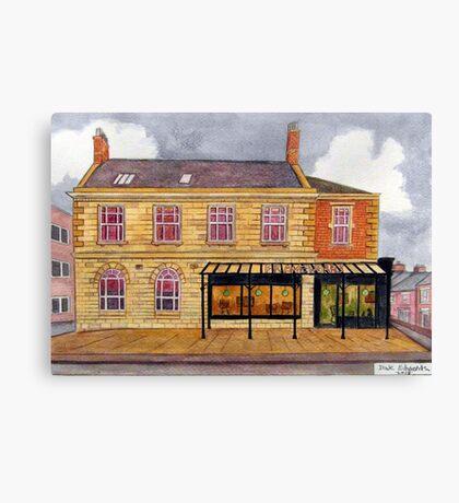 426 - FRAMEWORKS CAFE & SHOP, BLYTH - DAVE EDWARDS - WATERCOLOUR - 2018 Canvas Print