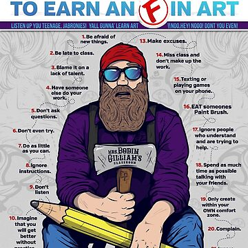 """20 Ways to get an 'F' in Art"" - Funny Creative Educational Classroom info-graphic Design by Fragoutdesign"