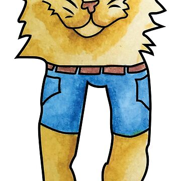 Cat in Denim Shorts by Grimessart