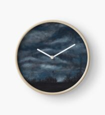 cloudy night sky Clock
