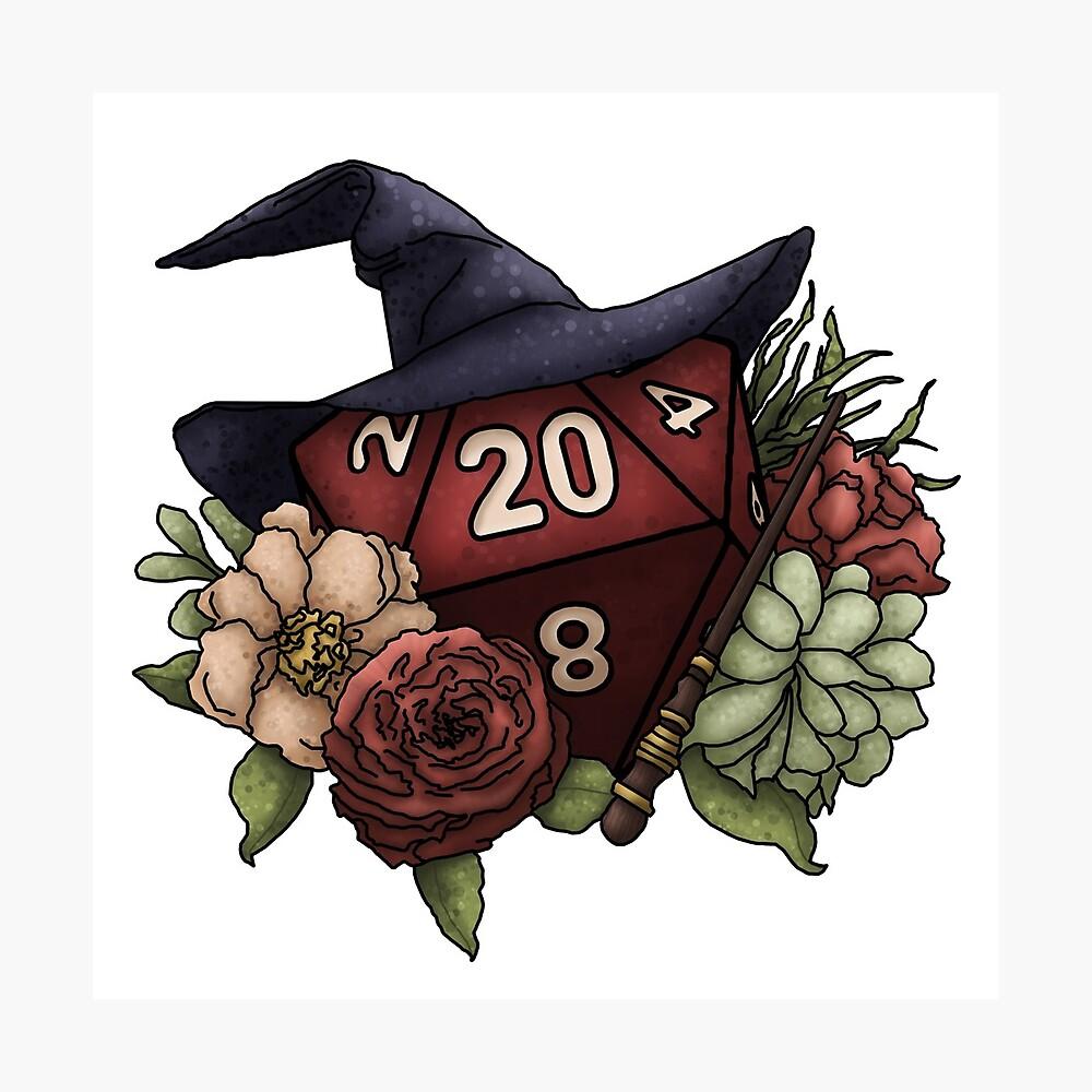 Wizard Class D20 - Tabletop Gaming Dice Lámina fotográfica