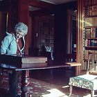 Marj in Library of over 6000 books at Castle at Brodie Scotland 19840919 0016 by Fred Mitchell