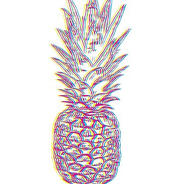 Glitch Effect CMYK Abstract Pineapple Illustration by ShikitaMakes