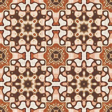 Brown Taupe Beige Salmon Orange Hip Orient Bali Art by FudgePudge