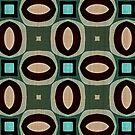«Turquesa verde pastel naranja oval elipses cuadrados patrón» de LC Graphic Design Studio