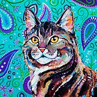 Tabby on Paisley - Cat portrait by EveiArt