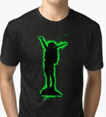 Silhouette climbing green and black silhouette Tri-blend T-Shirt