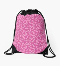 Pink on Pink Foliage Drawstring Bag