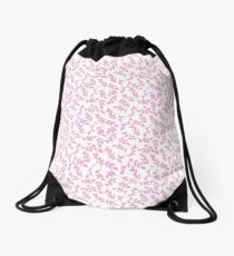 Simply Pink Foliage Pattern Drawstring Bag