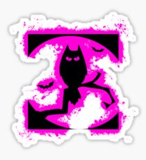 Bat halloween pink and black silhouette Sticker