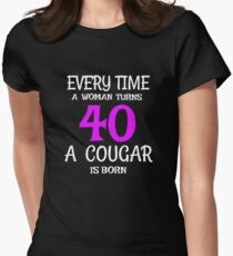 40th Birthday A Cougar Is Born Womens Fitted T Shirt