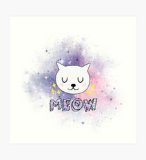 PINK PURPLE SPACE CAT CUTE MEOW Art Print