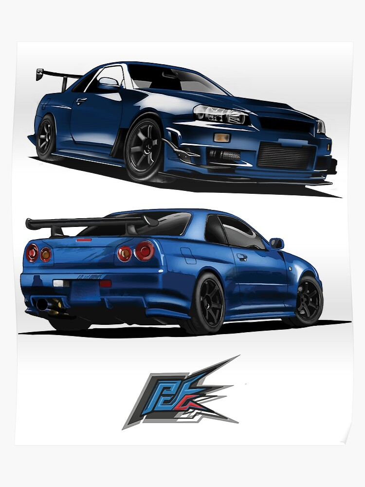 Nissan Gtr R34 Front Blue Color Front Back Poster
