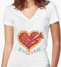 Pizz-a Heart Women's Fitted V-Neck T-Shirt