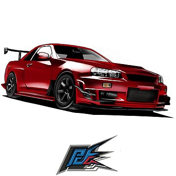 nissan gtr r34 front red color by naquash
