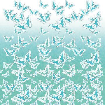 blue butterflies in the sky by cglightNing
