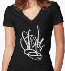 Enuf Style (White Print) Women's Fitted V-Neck T-Shirt