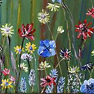 Detail from Flowers on Green, a painting by Vic Potter by Vic Potter