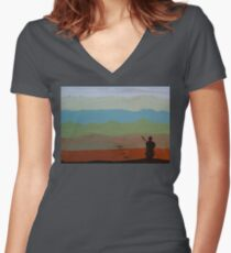 Lone Warrior, painting by Vic Potter Women's Fitted V-Neck T-Shirt
