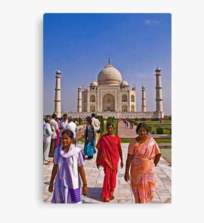 Indian fashion in front of Taj Mahal Canvas Print