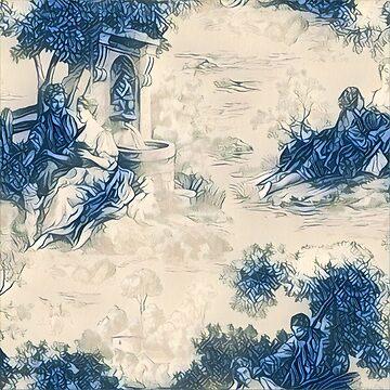 Blue & White Toile 1 by Ediemagic