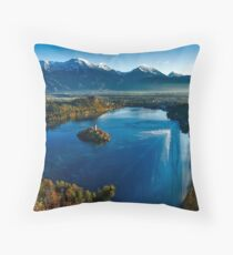 Photomontage landscape illusion edge Throw Pillow