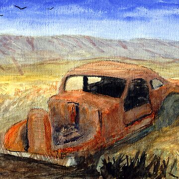 Antque Car That Didn't make it to Burns or Bend Oregon Watercolor by Pagani
