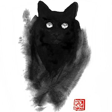 fluffy black cat by pechane
