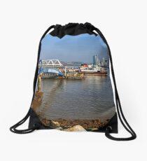 Snowdrop leaving Seacombe Ferry port. Drawstring Bag