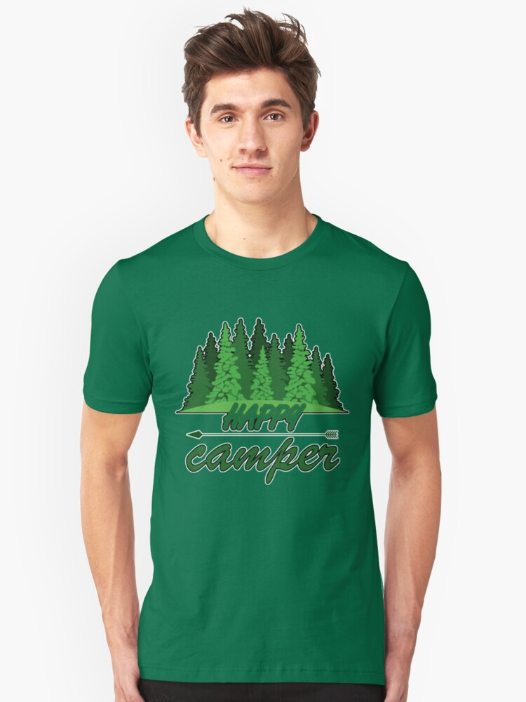 Happy Camper Camp Ground Campground In T Shirt For Camping Camp Camper RV Staff Worker Halloween Costume Joke Funny Gag Gift Unisex T-Shirt Front