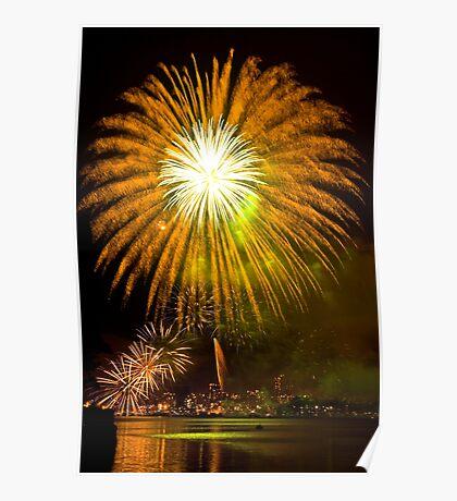 Single Sunflower Supernova - Sydney Harbour - New Years Eve - Midnight Fireworks  Poster