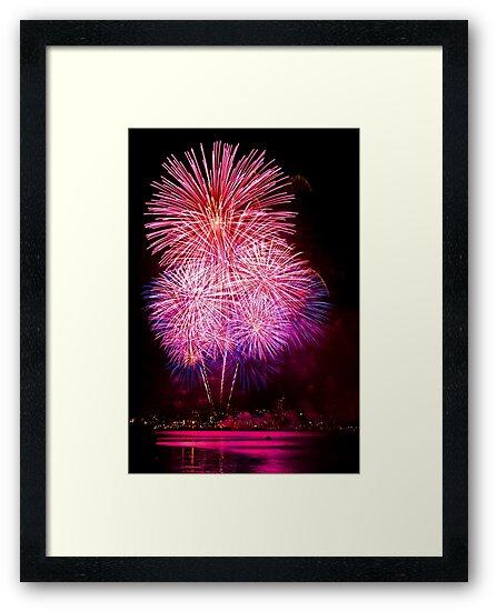 Blossom Bursts - Sydney Harbour - New Years Eve - Midnight Fireworks  by Bryan Freeman