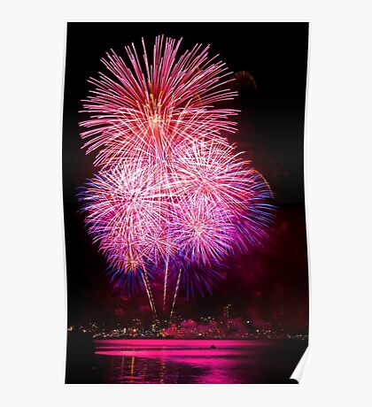 Blossom Bursts - Sydney Harbour - New Years Eve - Midnight Fireworks  Poster