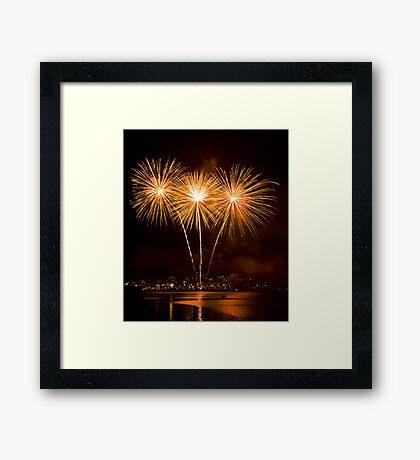We Three Palms - Sydney Harbour - New Years Eve - Midnight Fireworks  Framed Print