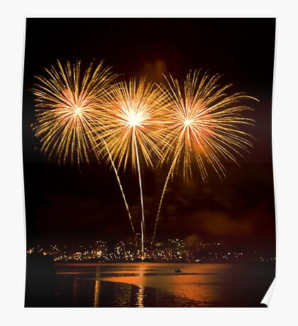 We Three Palms - Sydney Harbour - New Years Eve - Midnight Fireworks  Poster
