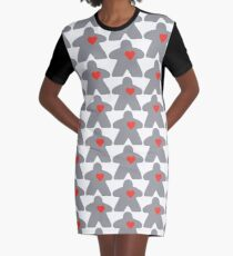 Meeple love - Grey Graphic T-Shirt Dress