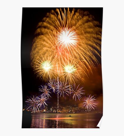 Sunflower Burst - Sydney Harbour - New Years Eve - Midnight Fireworks Poster