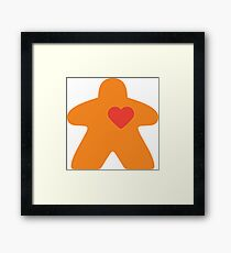 Meeple Love - orange Framed Print