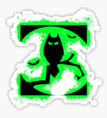 Bat halloween green and black silhouette Sticker