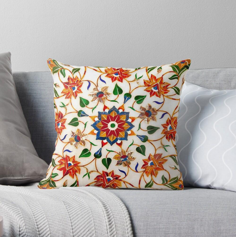 Diseño Floral Taj Mahal Cojín