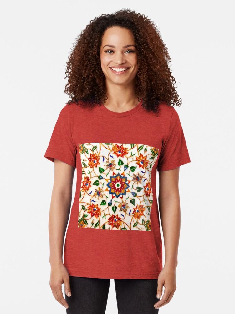 Vista alternativa de Camiseta de tejido mixto Diseño Floral Taj Mahal